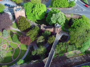 Aerial view of Chester City Walls