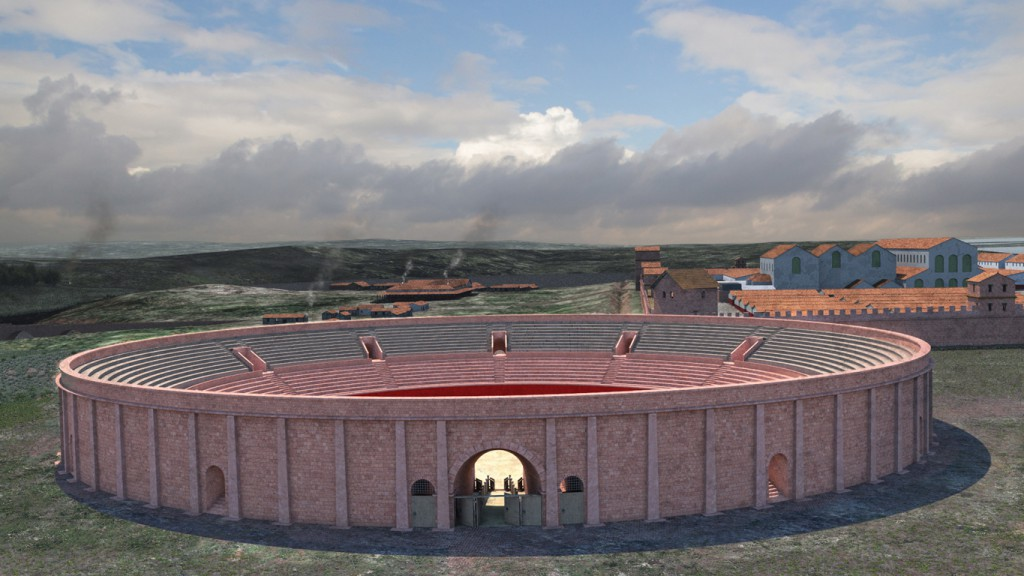 The amphitheatre and fortress, looking from the east. (Reconstruction by Julian Baum)